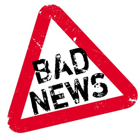 Bad News rubber stamp. Grunge design with dust scratches. Effects can be easily removed for a clean, crisp look. Color is easily changed. Illustration
