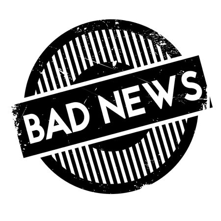 solemn: Bad News rubber stamp. Grunge design with dust scratches. Effects can be easily removed for a clean, crisp look. Color is easily changed. Illustration
