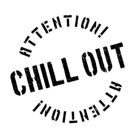 take a breather: Chill Out rubber stamp. Grunge design with dust scratches. Effects can be easily removed for a clean, crisp look. Color is easily changed.