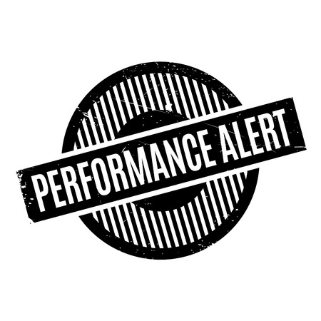 Performance Alert rubber stamp. Grunge design with dust scratches. Effects can be easily removed for a clean, crisp look. Color is easily changed. Illusztráció