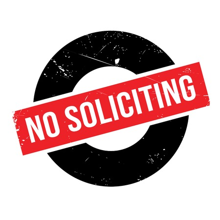 No Soliciting rubber stamp. Grunge design with dust scratches. Effects can be easily removed for a clean, crisp look. Color is easily changed.