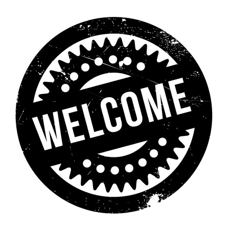 genial: Welcome rubber stamp. Grunge design with dust scratches. Effects can be easily removed for a clean, crisp look. Color is easily changed.
