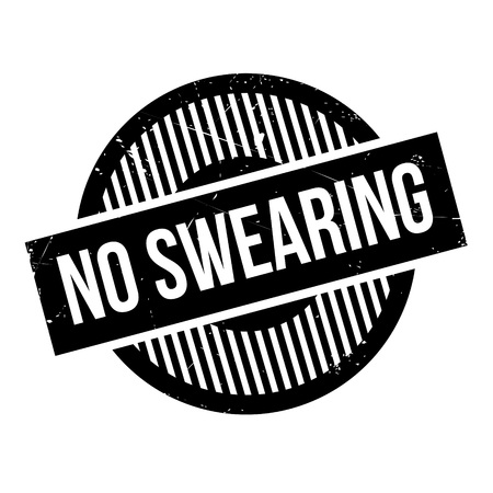 blasphemy: No Swearing rubber stamp. Grunge design with dust scratches. Effects can be easily removed for a clean, crisp look. Color is easily changed.
