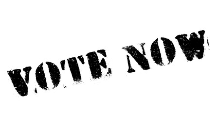 promptly: Vote Now rubber stamp. Grunge design with dust scratches. Effects can be easily removed for a clean, crisp look. Color is easily changed. Stock Photo
