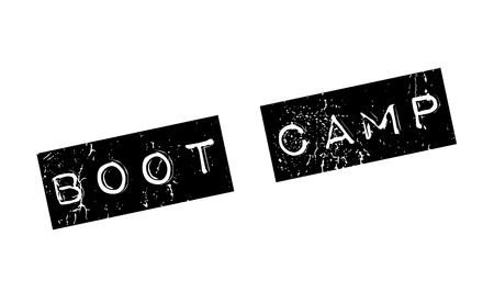 prison facility: Boot Camp rubber stamp. Grunge design with dust scratches. Effects can be easily removed for a clean, crisp look. Color is easily changed.