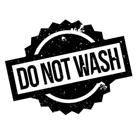 Nicht waschen Stempel. Grunge-Design mit Staub Kratzern. Effekte können leicht für einen sauberen, klaren Look entfernt werden. Farbe wird leicht gewechselt. Standard-Bild - 74358669