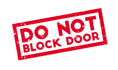 Do Not Block Door rubber stamp. Grunge design with dust scratches. Effects can be easily removed for a clean, crisp look. Color is easily changed.