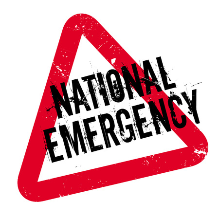 National Emergency rubber stamp. Grunge design with dust scratches. Effects can be easily removed for a clean, crisp look. Color is easily changed.