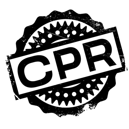 CPR rubber stamp. Grunge design with dust scratches. Effects can be easily removed for a clean, crisp look. Color is easily changed.