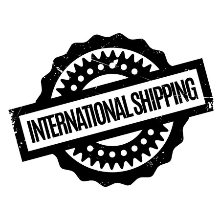 privateer: International Shipping rubber stamp. Grunge design with dust scratches. Effects can be easily removed for a clean, crisp look. Color is easily changed.