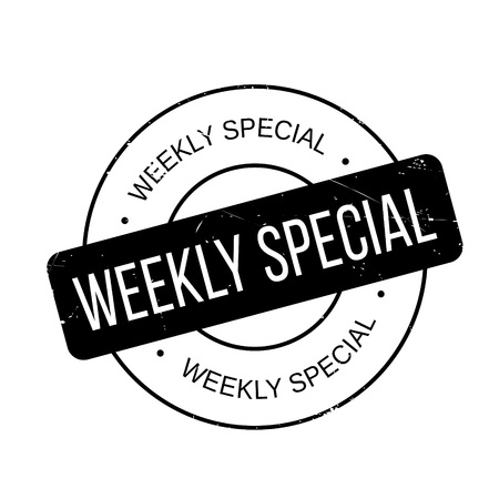 Weekly Special rubber stamp. Grunge design with dust scratches. Effects can be easily removed for a clean, crisp look. Color is easily changed.