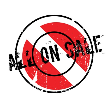 trade off: All On Sale rubber stamp. Grunge design with dust scratches. Effects can be easily removed for a clean, crisp look. Color is easily changed. Illustration