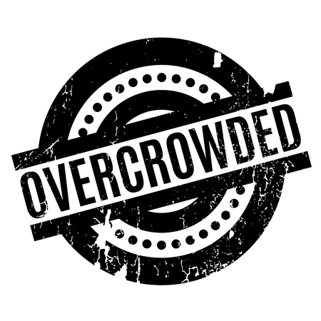 overcrowded: Overcrowded rubber stamp. Grunge design with dust scratches. Effects can be easily removed for a clean, crisp look. Color is easily changed. Illustration