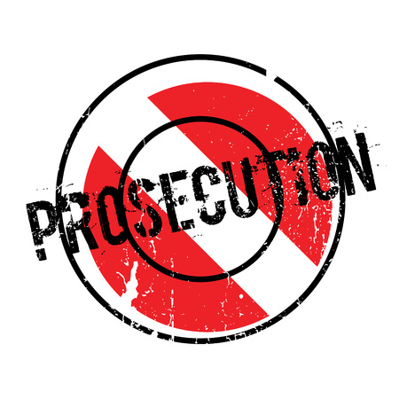 Prosecution rubber stamp. Grunge design with dust scratches. Effects can be easily removed for a clean, crisp look. Color is easily changed. Illustration
