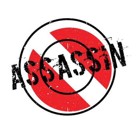 Assassin rubber stamp. Grunge design with dust scratches. Effects can be easily removed for a clean, crisp look. Color is easily changed. Illustration
