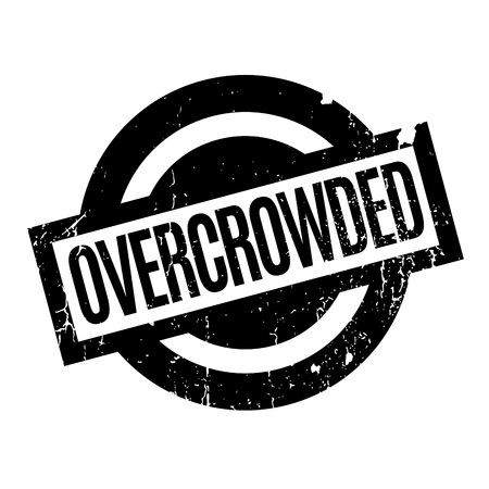 overcrowding: Overcrowded rubber stamp. Grunge design with dust scratches. Effects can be easily removed for a clean, crisp look. Color is easily changed. Stock Photo