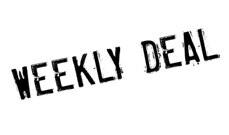 weekly: Weekly Deal rubber stamp. Grunge design with dust scratches. Effects can be easily removed for a clean, crisp look. Color is easily changed. Illustration