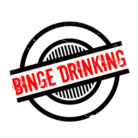 Binge Drinking rubber stamp. Grunge design with dust scratches. Effects can be easily removed for a clean, crisp look. Color is easily changed. Vektorové ilustrace