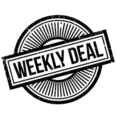 Weekly Deal rubber stamp. Grunge design with dust scratches. Effects can be easily removed for a clean, crisp look. Color is easily changed. Illustration