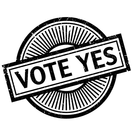 Vote Yes rubber stamp. Grunge design with dust scratches. Effects can be easily removed for a clean, crisp look. Color is easily changed. Stock Photo