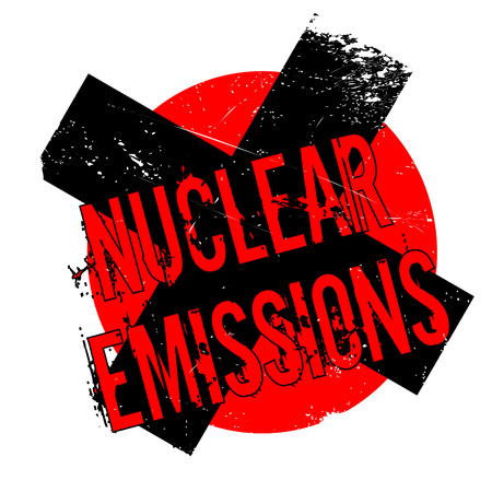 hazardous waste: Nuclear Emissions rubber stamp. Grunge design with dust scratches. Effects can be easily removed for a clean, crisp look. Color is easily changed.
