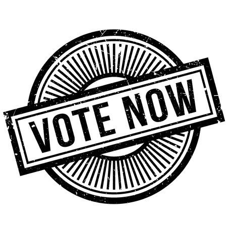 Vote Now rubber stamp. Grunge design with dust scratches. Effects can be easily removed for a clean, crisp look. Color is easily changed. Stock Photo