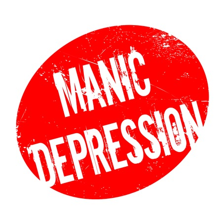 Manic Depression rubber stamp. Grunge design with dust scratches. Effects can be easily removed for a clean, crisp look. Color is easily changed. Stock Photo