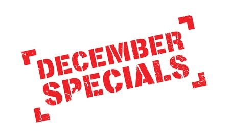 indulgence: December Specials rubber stamp. Grunge design with dust scratches. Effects can be easily removed for a clean, crisp look. Color is easily changed.