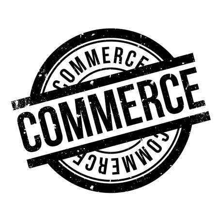 retailing: Commerce rubber stamp. Grunge design with dust scratches. Effects can be easily removed for a clean, crisp look. Color is easily changed.