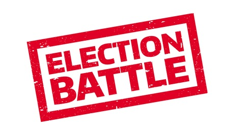 Election Battle rubber stamp. Grunge design with dust scratches. Effects can be easily removed for a clean, crisp look. Color is easily changed. Stock Vector - 74436943