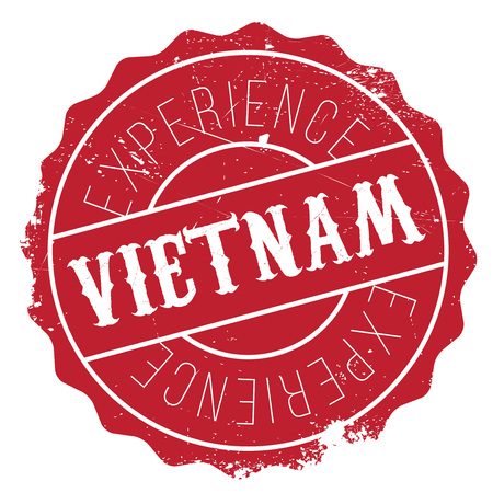 Vietnam rubber stamp. Grunge design with dust scratches. Effects can be easily removed for a clean, crisp look. Color is easily changed.