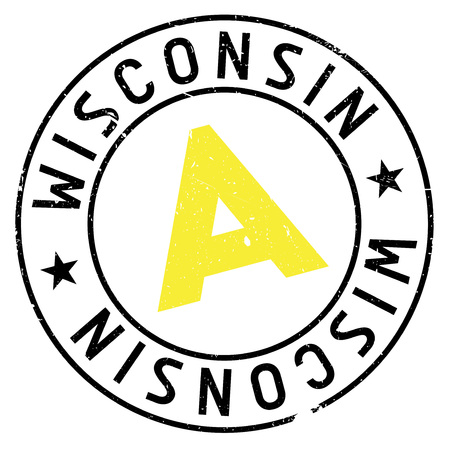validation: Wisconsin rubber stamp. Grunge design with dust scratches. Effects can be easily removed for a clean, crisp look. Color is easily changed.