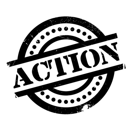 Action rubber stamp. Grunge design with dust scratches. Effects can be easily removed for a clean, crisp look. Color is easily changed.