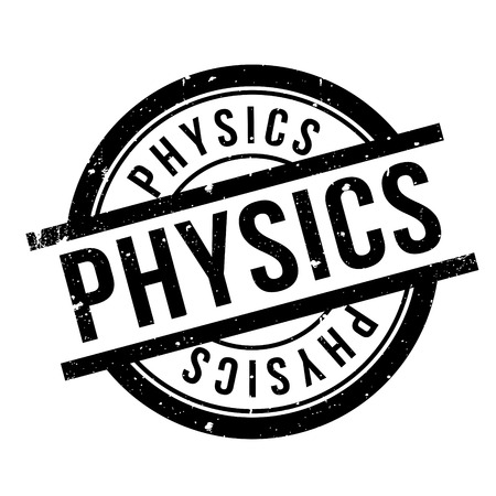 uni: Physics rubber stamp. Grunge design with dust scratches. Effects can be easily removed for a clean, crisp look. Color is easily changed. Illustration