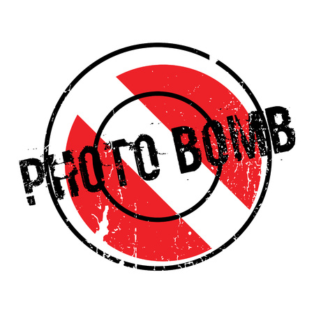 prank: Photo Bomb rubber stamp. Grunge design with dust scratches. Effects can be easily removed for a clean, crisp look. Color is easily changed. Illustration