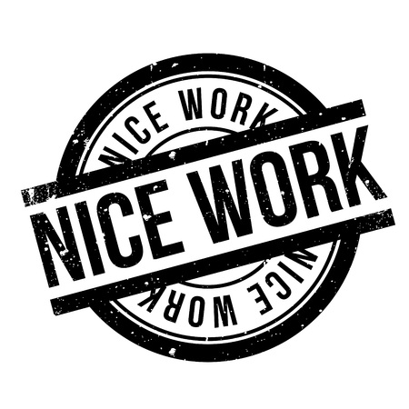 predecessor: Nice Work rubber stamp. Grunge design with dust scratches. Effects can be easily removed for a clean, crisp look. Color is easily changed. Illustration