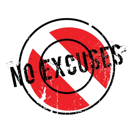 plea: No Excuses rubber stamp. Grunge design with dust scratches. Effects can be easily removed for a clean, crisp look. Color is easily changed.