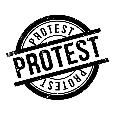 outcry: Protest rubber stamp. Grunge design with dust scratches. Effects can be easily removed for a clean, crisp look. Color is easily changed. Illustration
