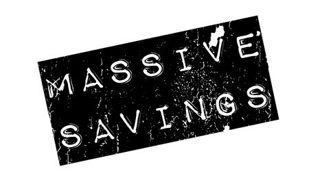 parsimony: Massive Savings rubber stamp. Grunge design with dust scratches. Effects can be easily removed for a clean, crisp look. Color is easily changed. Illustration