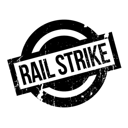 disrupt: Rail Strike rubber stamp. Grunge design with dust scratches. Effects can be easily removed for a clean, crisp look. Color is easily changed.