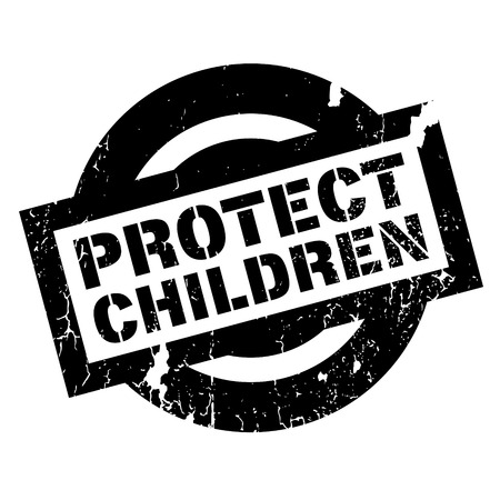 Protect Children rubber stamp. Grunge design with dust scratches. Effects can be easily removed for a clean, crisp look. Color is easily changed.