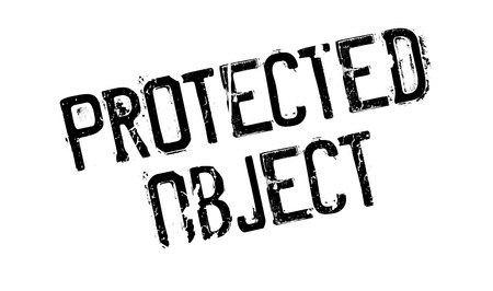 Protected Object rubber stamp. Grunge design with dust scratches. Effects can be easily removed for a clean, crisp look. Color is easily changed.