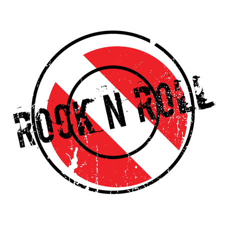 Rock N Roll rubber stamp. Grunge design with dust scratches. Effects can be easily removed for a clean, crisp look. Color is easily changed. Illustration