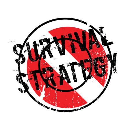 threatened: Survival Strategy rubber stamp. Grunge design with dust scratches. Effects can be easily removed for a clean, crisp look. Color is easily changed.
