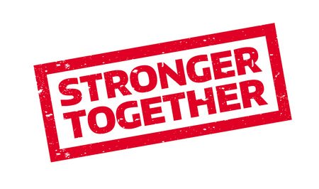stronger: Stronger Together rubber stamp. Grunge design with dust scratches. Effects can be easily removed for a clean, crisp look. Color is easily changed.
