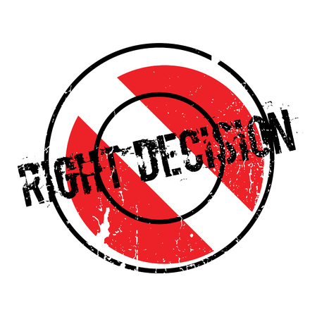 Right Decision rubber stamp. Grunge design with dust scratches. Effects can be easily removed for a clean, crisp look. Color is easily changed. Illustration