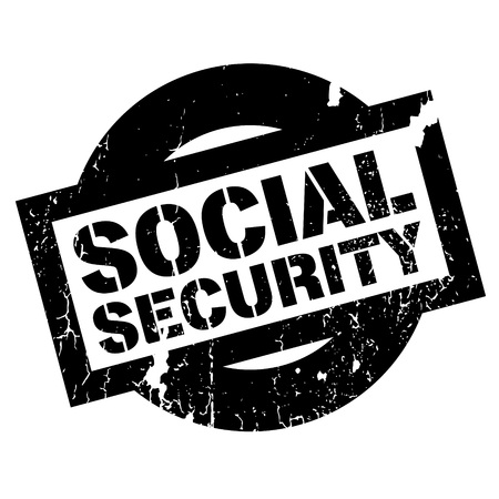 neighborly: Social Security rubber stamp. Grunge design with dust scratches. Effects can be easily removed for a clean, crisp look. Color is easily changed.