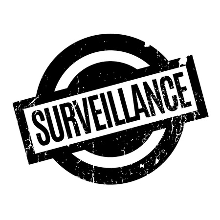 totalitarianism: Surveillance rubber stamp. Grunge design with dust scratches. Effects can be easily removed for a clean, crisp look. Color is easily changed.