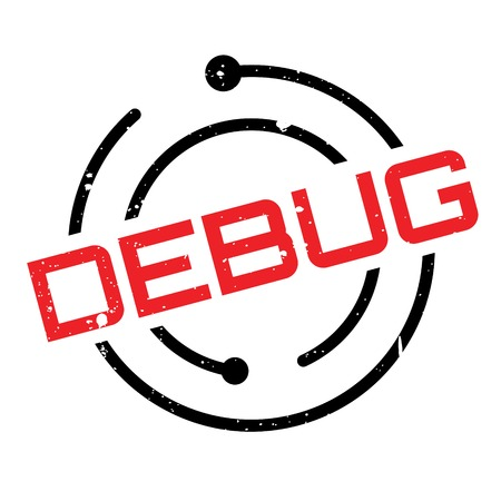 Debug rubber stamp. Grunge design with dust scratches. Effects can be easily removed for a clean, crisp look. Color is easily changed. Stock Photo