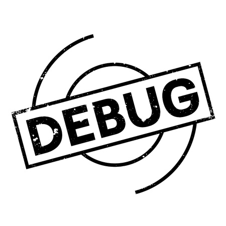 debugging: Debug rubber stamp. Grunge design with dust scratches. Effects can be easily removed for a clean, crisp look. Color is easily changed. Illustration